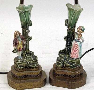 11: Pair 19th c. Majolica figures mounted as lamps