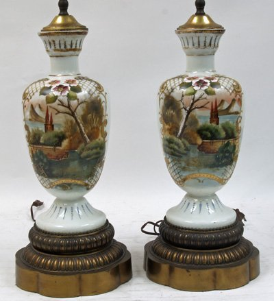 12: Pair handpainted bristol vases mounted as lamps
