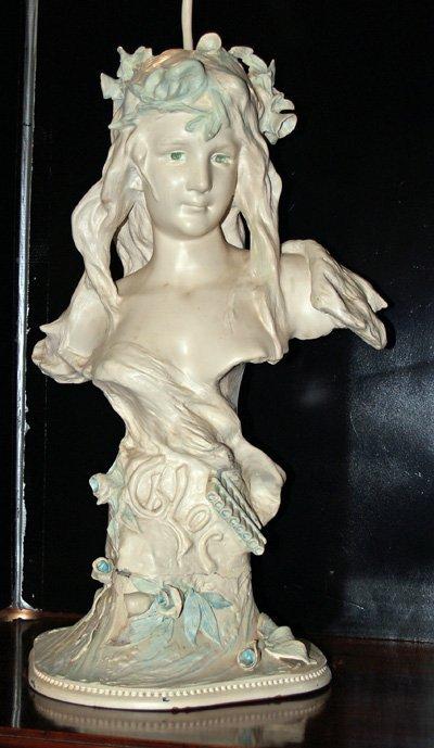 13: 19th c. white metal bust of art nouveau lady