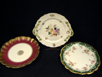 16: Herend plate, Limoges plate & red porcelain plate