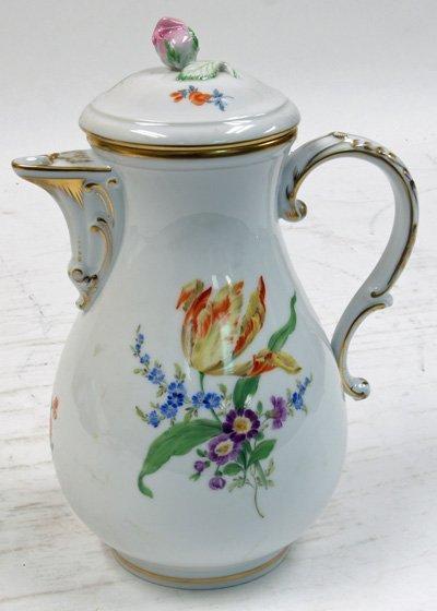 21: 20th c. Meissen floral pitcher