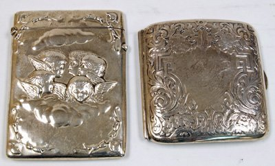 22: Sterling silver card holder & 19th c. card holder