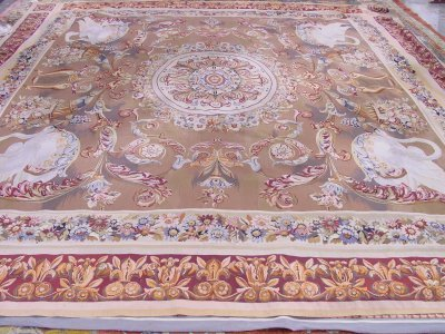 627A: Beige & red aubusson rug
