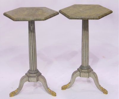 804: Pair faux marble wood octagonal tables