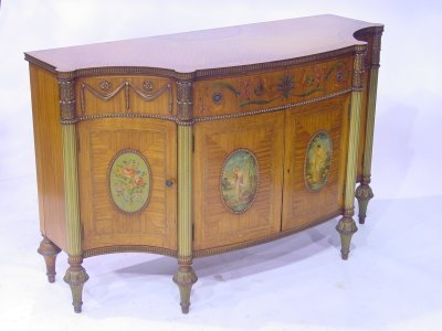 871: Satinwood & walnut paint decorated commode
