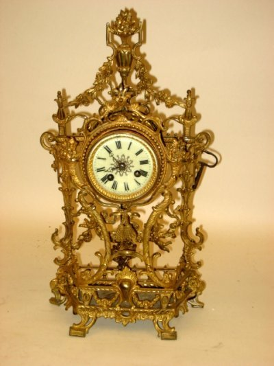 1055: 19th c. French bronze Louis XV style clock