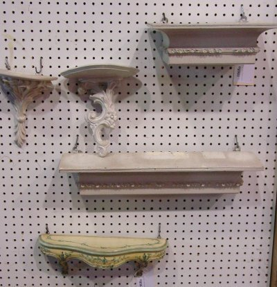 1068A: Lot of 4 painted white wall brackets