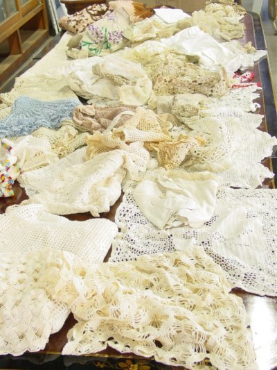 1: Two boxes assorted doilies etc