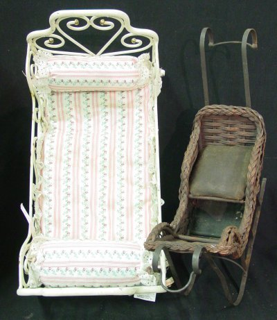 11: Victorian style iron bed & wicker sled