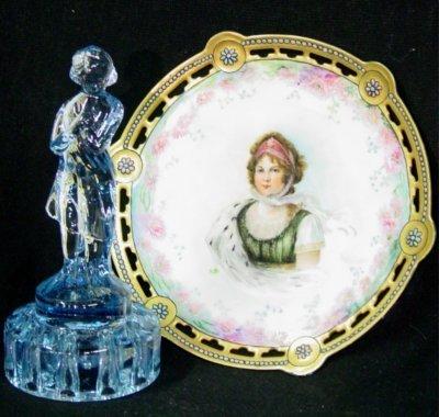 13: Blue glass nude frog & Limoges portrait plate