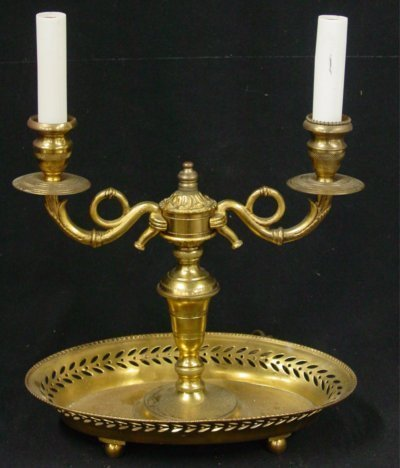 16: Brass two light candlestick desk lamp