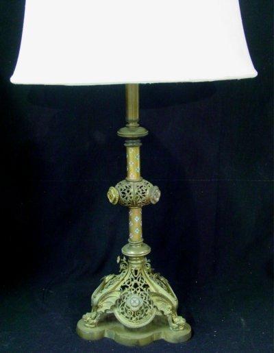 19: Pair Bronze lamps with enamel decoration