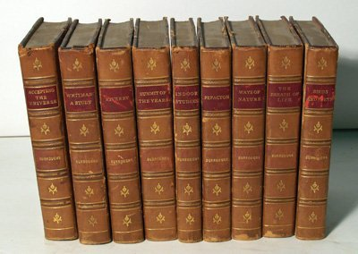 27: Lot of 9 leather bound books by John Burroughs