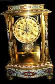 209: 19th c. French bronze & champleve crystal clock