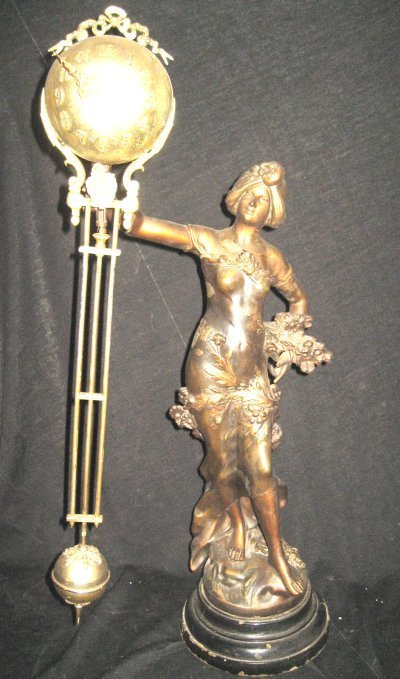 210: Late 19th c. French figural free swinger clock