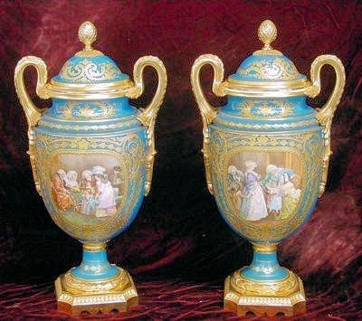 306: Pair bronze mounted Sevres covered urns