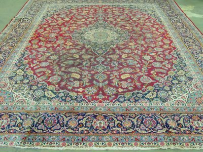 607: Semi-antique red Kashan Ca. 1930's