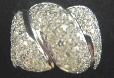 614: 18kt white gold pave band ring