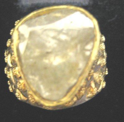 615: Gold, silver & rose cut diamond ring