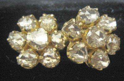 617: 18kt yellow gold & rose cut diamond earrings