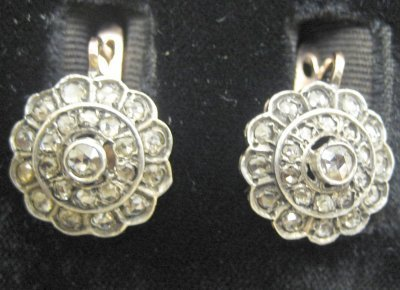 618: Russian gold round earrings with silver top