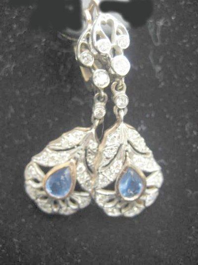 619: Russian pink gold, diamond & sapphire earrings
