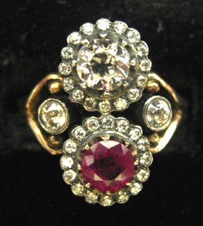 621: Russian diamond & ruby ring