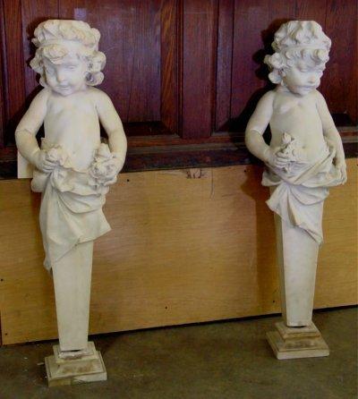838: Pair white marble cherubs