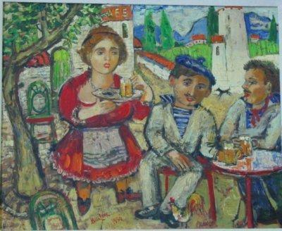 867: Oil painting on board signed Burliuk 1959