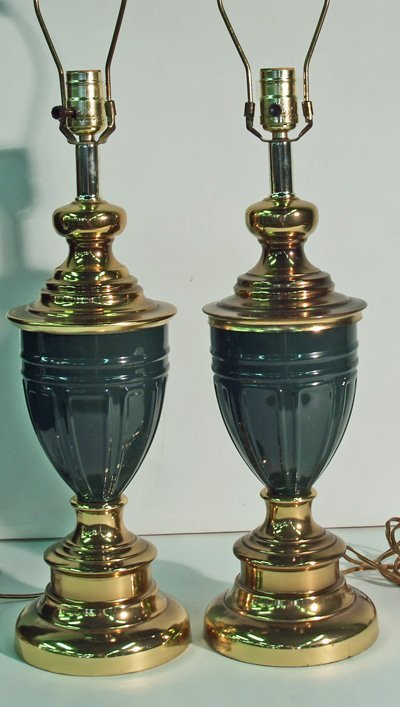 12: Pair green & brass lamps