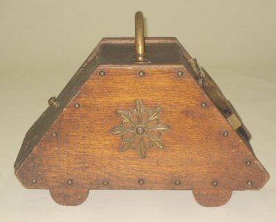 28: 19th c. oak & brass handled coal scuttle