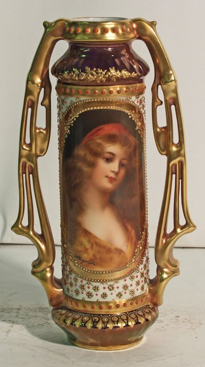308: Royal Vienna style portrait vase signed Wagner
