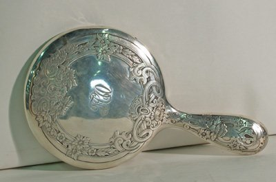 603: Etched sterling silver hand mirror