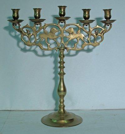 613: Brass Judaic candelabra