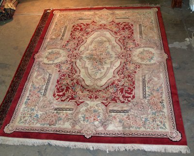 9: Red & beige Aubusson rug