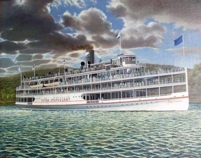 272: Oil painting of boat signed V. Nemethy