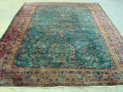 1002: Powder blue Sarouk Persian rug ca. 1920's