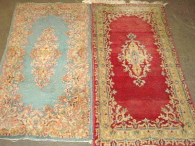 1004: 2 Late 20th c. Kermin Persian scatter rugs