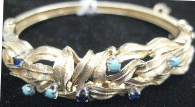 1016: 14kt yellow gold, turquoise & sapphire bracelet