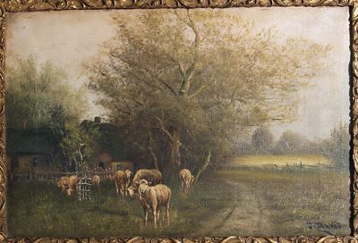 1269: 19th c. oil painting on canvas signed J. Davis