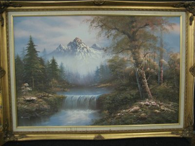 1321: 20th c. Oil painting on canvas signed M. Scott