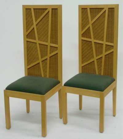 1503: Set of four modern rattan chairs