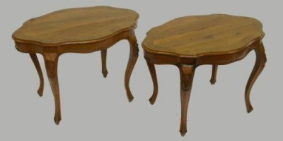 1506: Pair Italian olivewood low tables