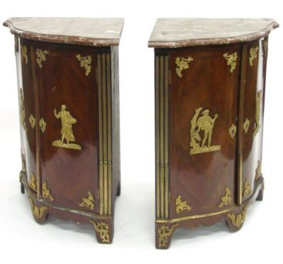 1824: Pair French regency cabinets by Saunier