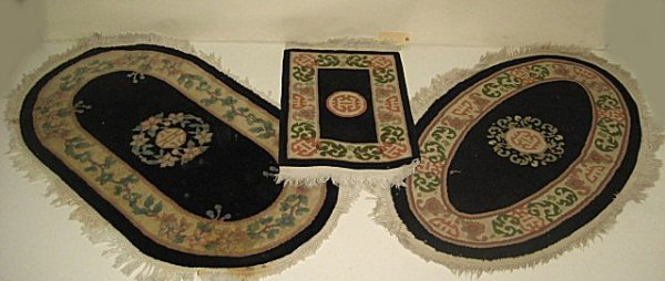 8: Lot of 3 small Chinese scatter rugs