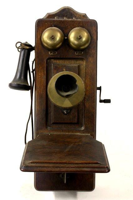 18: Oak wind up wall telephone