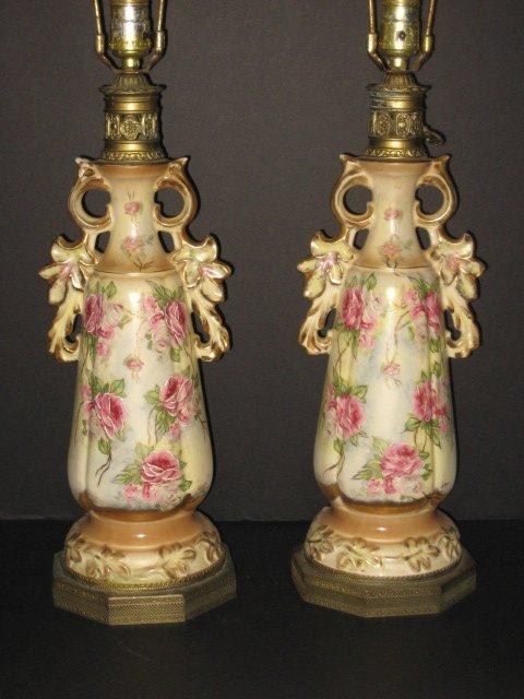 22: Pair porcelain lamps