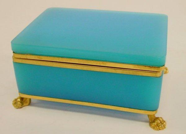 61: Blue opaline & brass dresser box