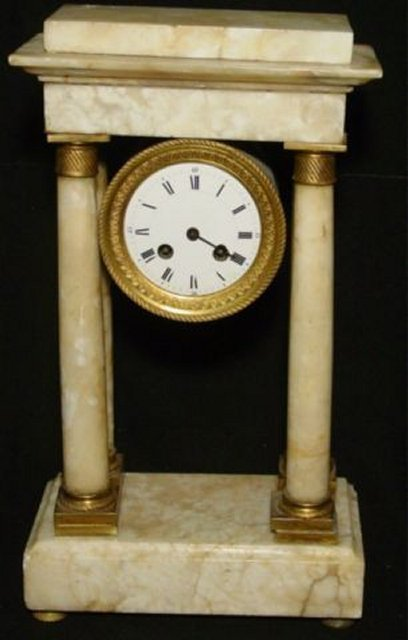 587: Empire Corinthian columned marble clock