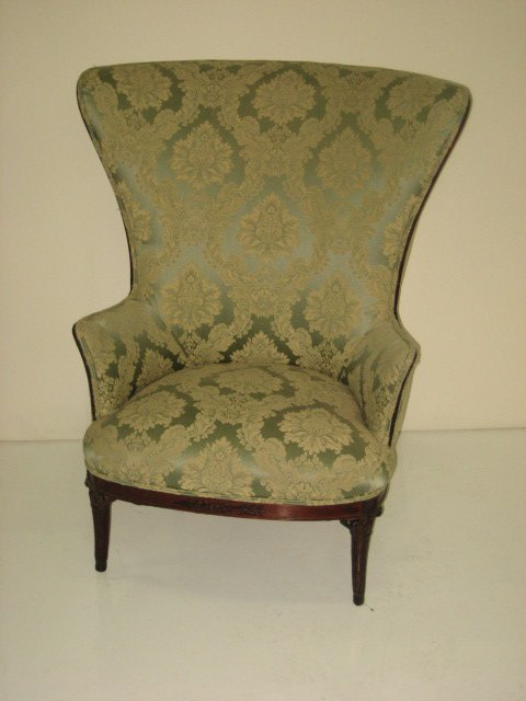 603: 19th c. upholstered arm chair